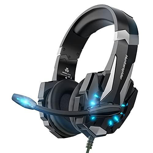 Hunterspider Auriculares de Diadema para Videojuegos con micrófono, 3.5mm Jack con Luz LED Bass Surround y Cancelación de Ruido Auriculares Compatible con PC/Xbox One/Switch (Black)