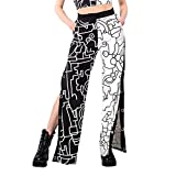 Likeu Mujeres Impreso Baggy Pantalones de chándal Bolsillos Cintura Alta Pantalones Pantalones Casual Split Lateral Y2k Pantalones Largos, Negro Blanco 4, XL