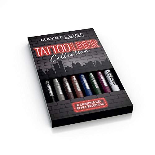Maybelline New-York - Coffret de 8 Crayons Gel Effet Tatouage - Tattoo Liner - Teintes: Noir (900), Gris (901), Marron (910), Noisette (911), Bleu (921), Vert (932), Bordeaux (942) et argenté (961)