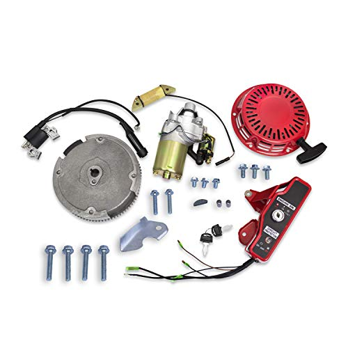 Everest Parts Supplies Electric Starter Motor Kit Compatible with Honda Gx160 5.5hp & GX200 6.5hp w/Recoil Ignition Coil Flywheel Ignition Switch Box with Keys