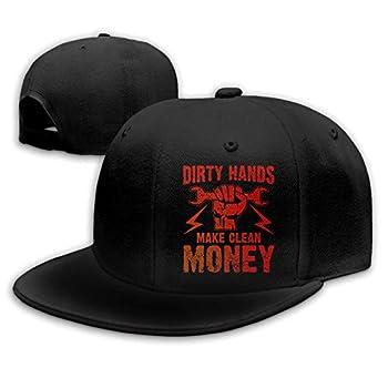 Dirty Hands Make Clean Money 9 Men s Snapback Hip Hop Baseball Cap Trucker Hat-Black-OneSize