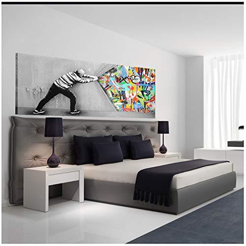 Gemälde Leinwand Graffiti Kunst Wand Abstrakt Für Wohnzimmer Hinter Dem Vorhang Street Art Leinwandbilder Wandposter Und Drucke 50x120 cm (19,7