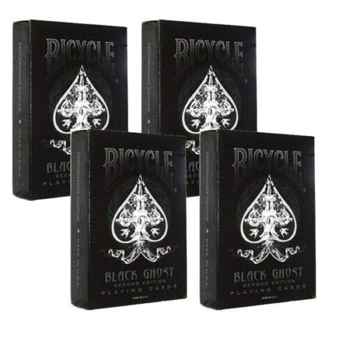 Shop4top 4 Decks Bicycle Ghost Black Ellusionist Spielkarten Zaubertricks Neu