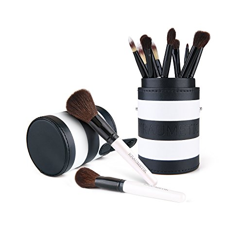 KRAUMETIK 12 pcs Makeup Brush Set with Cup Holder Kabuki Cosmetics Face Eye Foundation Powder Blush Shadow Eyebrow Lips Concealer Makeup Brushes Kit