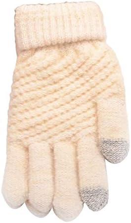 Hot Unisex Warm Winter Knitted Full Finger Gloves Mittens Girl Female Faux Cashmere Women's Gloves Touch Screen Men's Gloves T8 - (Color: 6)
