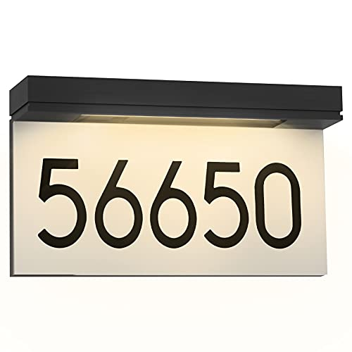 House Numbers Address Plaques Solar Powered, Personalized House Number for Outside, LED Address Sign Outdoor Waterproof 3000K Warm White, Gift For Housewarming, Yard Decoration
