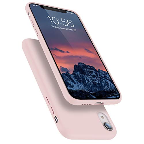 Segoi Liquid Silicone Case Compatible with iPhone XR 6.1 inch, Gel Rubber Full Body Protection Shockproof Cover Case Drop Protection Case - Pink Sand
