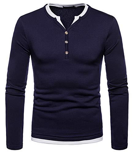WHATLEES Herren Urban Basic Regular Fit Langarm Henley T-Shirt mit Knöpfen Melange Langarmshirt BA0169-navy-XL