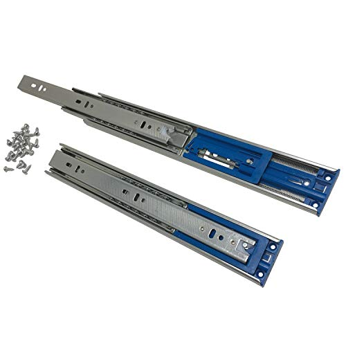 1 Pack of 14' Soft Close Ball Bearing Drawer Slides - (12' - 24' Lengths Too) - 100 lb.Capacity - Side Mount Glides w/Screws