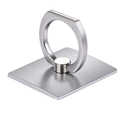 Fone-Stuff - Anello per telefono con supporto girevole a 360°, in metallo con supporto per auto per tutti i telefoni cellulari, iPhone, tablet e iPad, colore: Argento