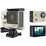 Develop 170Degree Wide Angle Lens Mini Ultra HD 4K Wifi Camera 60FPS with romete Control Sport Bike Helmet Action Camera Cam Video 30m Waterproof LCD Cycling Bicycle Diving Mount for Car Recorder