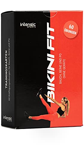 intensic SPORTS Tarjetas de entrenamiento – 60 ejercicios de fitness para abdomen, piernas y glúteos – Entrenamiento sin dispositivos