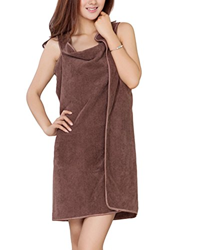 Toallas de Baño, albornoz toalla Wearable, toalla piscina playa mujer ducha, absorbente Seco Rápidamente Super Suave, albornoz toallas microfibra todo en uno café OneSize