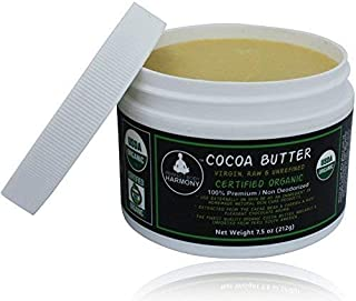 Real CERTIFIED Organic Cocoa Butter; BPA Free Jar; Premium Unrefined, Non-Deodorized, Extracted From The Cacao Bean ~ Rich Chocolate Aroma! Naturally Rich In Antioxidants! THE BEST! [7.5 oz JAR]
