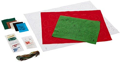 Bucilla 86733 Kit de bannière en feutre pour décoration de Noël avec fantaisie, 4 cm x 34 cm Rouge Blanc Vert