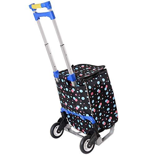 ZHAOHUI Transportkarren Faltbar Gummirad Stahlrohr Kunststoff rutschfest Mit Einkaufstasche Teleskopgriff, Höchstlast 50 Kg, 6 Farben (Color : B)