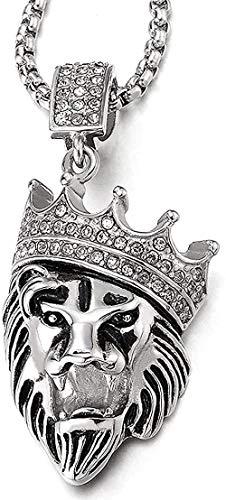 NC110 Moda clásica Personalidad Encanto Tendencia Collar Corona de Acero león Colgante Collar Hombres y Mujeres gifwheat Cadena