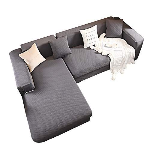 Hava Kolari Sofabezug, L-Form, Sofa-Schonbezug, Elastische Stretch Sofaüberwürfe für 1-4 Sitzer Sofa, Haustierschutz, Moderne Ecksofabezüge (Dunkelgrau,4-Sitzer:235-300cm)