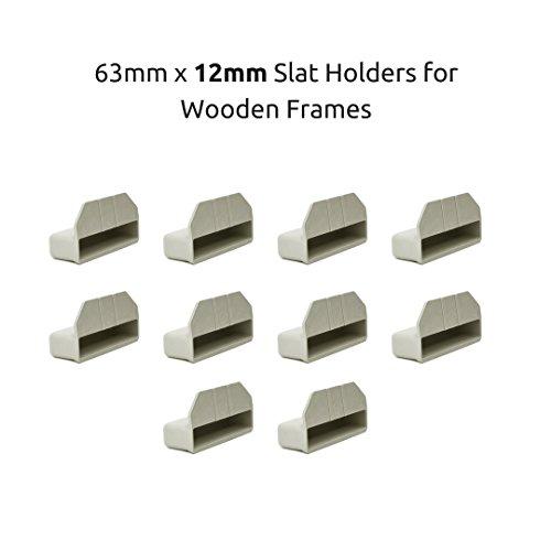 Soportes para láminas de madera de somier individual, de color crema, de 63 x 12 mm, paquete de 10 unidades