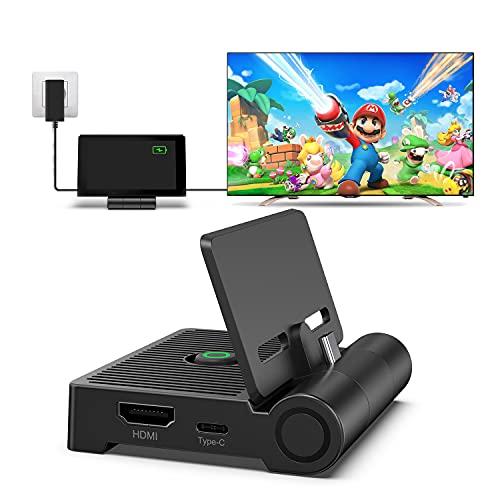 Switch Dock para Switch/Switch OLED, innoAura Base de Conexión de TV Plegable para Switch, Base de Carga Portátil con Puerto HDMI, USB C 3.0, Reemplazo para Switch Dock