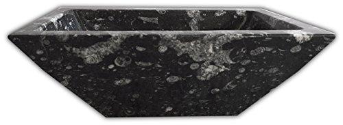 rechteckig geschnitzt schwarz Fossilien Spüle mit asymmetrische gemeißelt und Fossilien in aus Paläozoikum Zeitraum die 400Millionen years- W50L 30H20cm