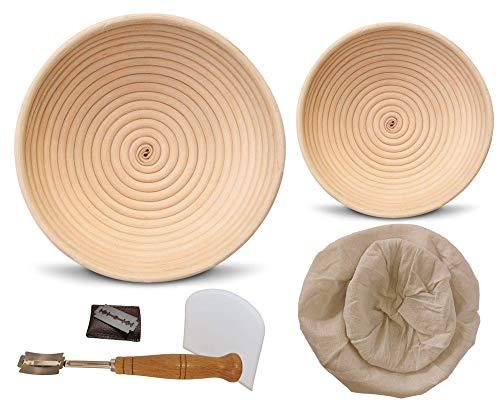 Gevenes Gärkorb Brotschale rund 2er Set Größen (23x8cm & 16x6cm) + Teigschaber + Bäckermesser & zusätzlicher Leineneinsatz