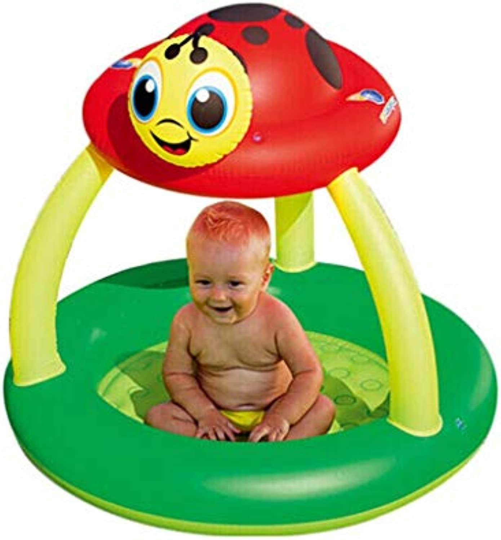 Aufblasbare Badewanne Kinder Doppel Neugeborenes Baby Pool Dicke Warme Falten Schwimmbad Dusche Marienkfer (Farbe   A)