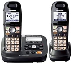 Panasonic KX-TG6592T DECT 6.0 Amplified Sound Cordless Phone with Answering System, Metallic Black, 2 Handsets & with Mini... photo