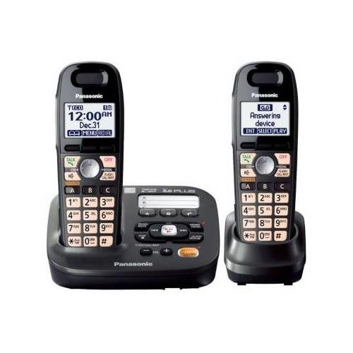 Panasonic KX-TG6592T DECT 6.0 Amplified Sound Cordless Phone with Answering System, Metallic Black, 2 Handsets & with Mini Tool Box (cog)