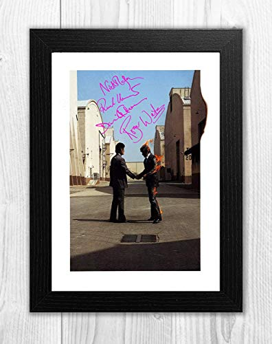 Engravia Digital Pink Floyd Wish You were Here Flaming Man Reproduction Autograph Signed Poster Photo A4 Print(Black Frame)