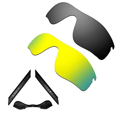 HKUCO For Oakley Radarlock Path Black/24K Gold Polarized Replacement Lenses And Black Earsocks Rubber Kit
