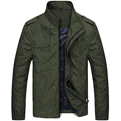 Uomo Giacche Casual Cappotti Tinta unita Mens Abbigliamento Stand Collare Maschile Bomber Giacche, Verde, XXXL