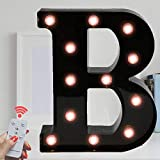 Marquee Letter Sign Lights – Light Up Black Letters Home Decor Name Signs – Battery Operated LED Remote Timer – Lighted Vintage Accessories & Decorations B