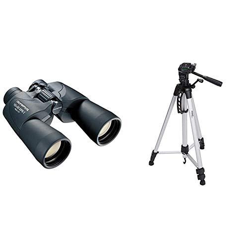 Olympus 10x50 DPS-I - Prismáticos, Zoom óptico 10x, Negro + AmazonBasics - Trípode Ligero Completo (Bolsa, Cabezal panorámico de 3 Posiciones, Zapata rápida), Color Negro