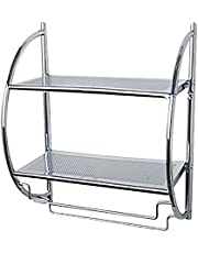 WENKO Wandrek Chrome-2 planken, 2 flexibele handdoekrekken, staal, zilver glanzend, 26 x 45,5 x 54,5 cm