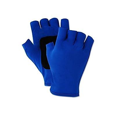 Magid ATV202L Fingerless Gel Palm Padded Impact Glove, Large, Blue (One Pair)