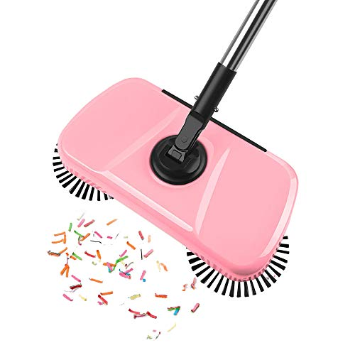 JZ 360 Degree Rotation Mute Hand Push Floor Tiles Household Sweeper 3 in 1 Broom & Dustpan & Mop (Pink)