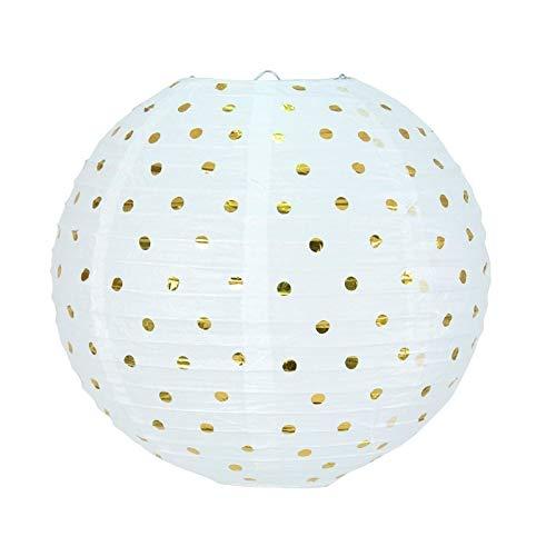 Party Lanterne Japonaise Boule de 35 cm en Papier, Boule Chinoise Blanche à Pois Or