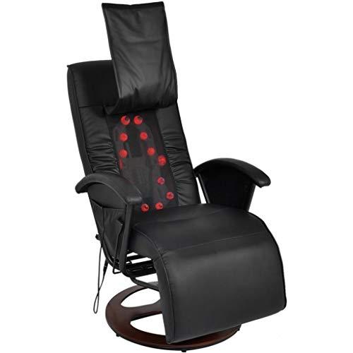 Festnight PU Massagesessel Massage Ruhesessel mit 14 bewegliche Massagepunkte | Rückenlehne und Fussstütze Verstellbar | Ergonomisch Schwarz