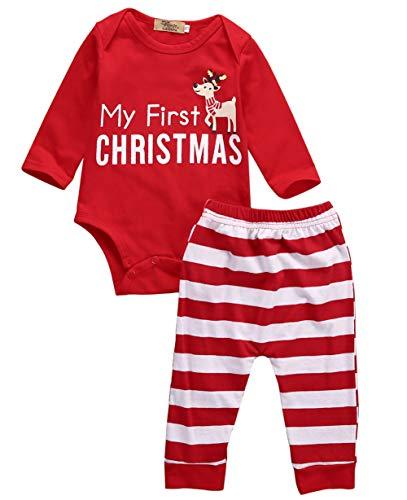PDYLZWZY Neugeborenes Xmas Baby Junge Mädchen Strampler+Hose Sets My First Christmas Bedruckt Lange Ärmel Kleine Mädchen Erste Weihnachten Hirsch Weihnachtsmann Outfits Set (B, 0-3 Monate)
