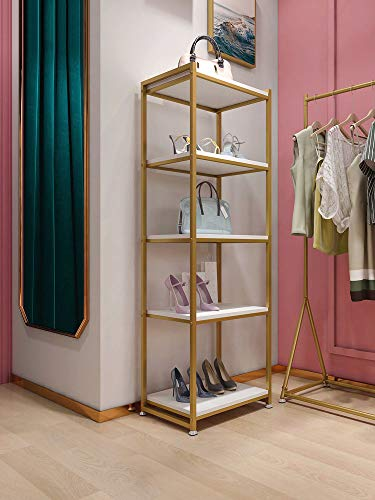 Floor-Standing Gold Clothing Rack with Shelves Metal Display Rack for Shoes Bag Jewelry Hat Plant Storage Bookshelf