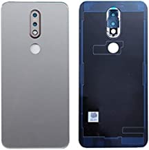 SOMEFUN Back Battery Cover Rear Door Housing Case Replacement for Nokia 7.1 TA-1100 TA-1096 TA-1095 TA-1085 TA-1097 with Camera Lens Silver/Gray