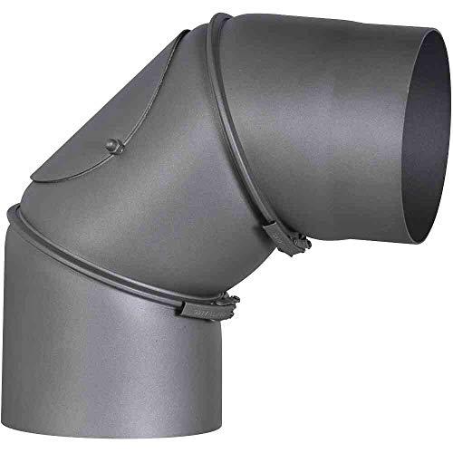 FIREFIX RD150/B Ofenrohrbogen aus 2 mm starken Stahl (Rauchrohr) in 150 mm Durchmesser, für Kaminöfen und Feuerstellen, Senotherm, dunkelgrau, 0-90 Grad verstellbar, mit Reinigungstür, Schwarz