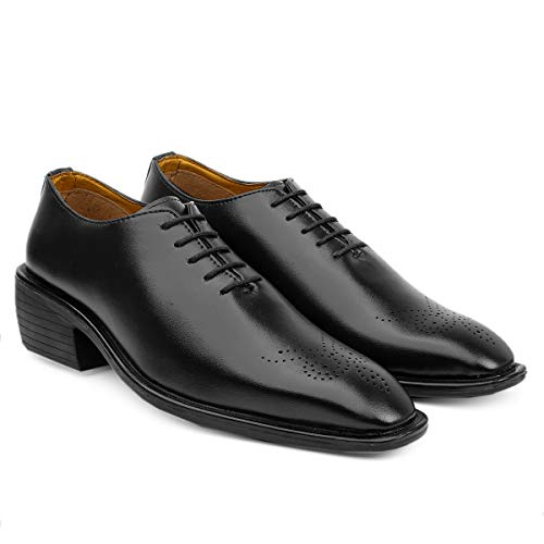 Men's Elevator Height Increasing Formal Derby Black Lace-Up Shoes
