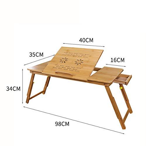 RUIXFLS Leicht Bambus Laptoptisch Notebooktisch klappbarer Lapdesk mit Schublade, höhenverstellbar Faltbare Betttisch für Lesen oder Frühstücks Geschenk, Wood