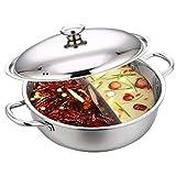 ALBEFY - Olla para cocinar calientes (28 cm, 2 asas de acero inoxidable, con tapa de cristal), ?? -, plata, medium