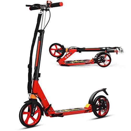COSTWAY Monopattino Pieghevole a 2 Ruote Scooter per Adulti e Bambini Altezza Regolabile, Ruote Grandi, con Freno a Mano e Pedale, Alluminio, per 8+ Anni (Rosso)