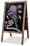 uyoyous Kundenstopper Aufsteller Kreidetafel Gehwegaufsteller Werbetafel Holz Magnetische Holztafel Holzrahmen Stehend, Werbetafel mit Blumenregal für Kaffee Bar Restaurant Hotel Buchhandlung 95x53cm
