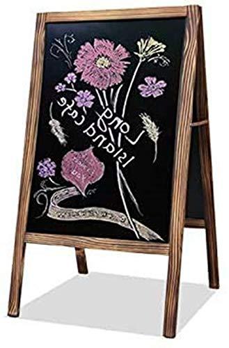 Kundenstopper Tafel 95x53cm Aufsteller Werbetafel Kreidetafel Gehwegaufsteller Holz Magnetische Holztafel Holzrahmen Stehend Schwarz für Kaffee Bar Restaurant Hotel Buchhandlung