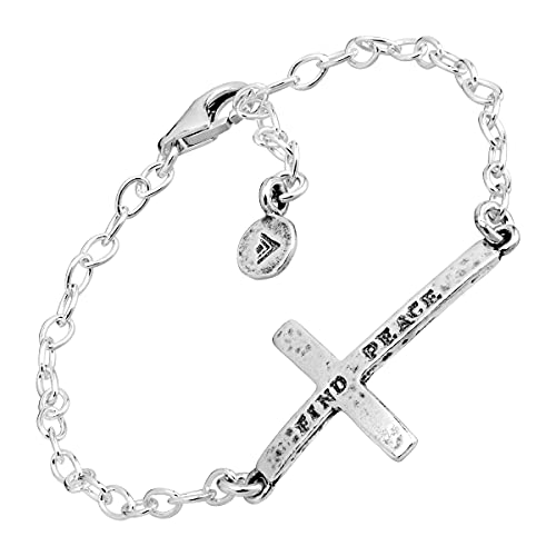 amazon collection inspired silver bracelets Silpada 'Find Peace' Horizontal Cross Link Bracelet in Sterling Silver